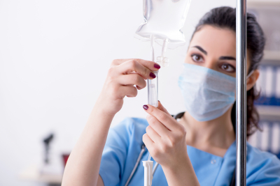 young female doctor in infusion