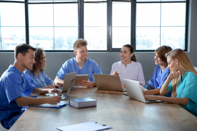 group of medical trainers having a meeting