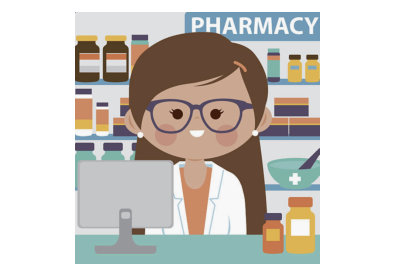 pharmacist trainee with a customer